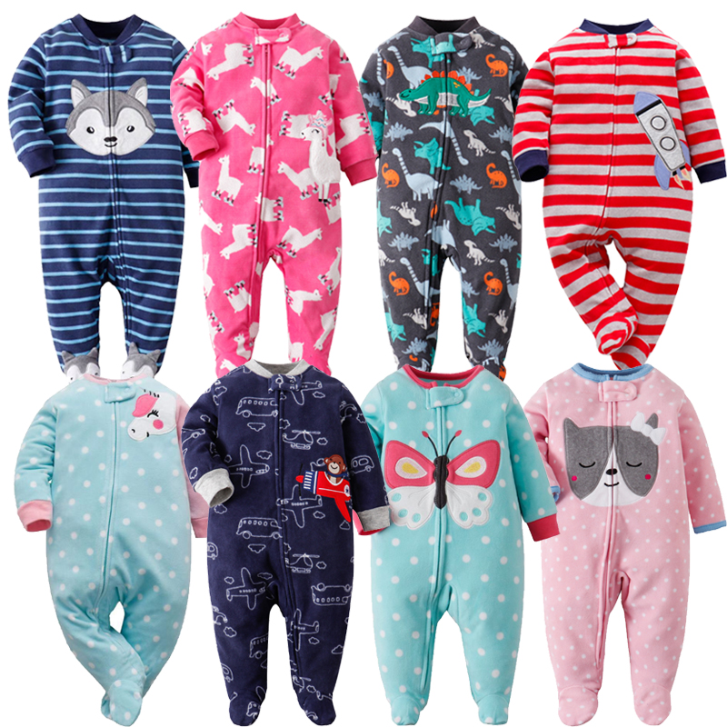 Baby Pajamas Zipper Fleece Newborn Baby Romper Warm Winter Underwear One Piece Overalls Baby Clothes Unicorn Infants Clothes