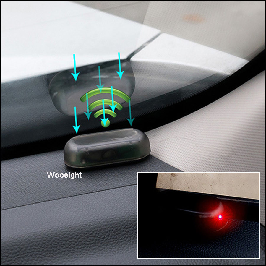 New 1pc Car Led Light Auto Car Alarm Lamp Security System Warning Theft  Flash Blinking Lamp Solar Power Anti-Theft LED Light