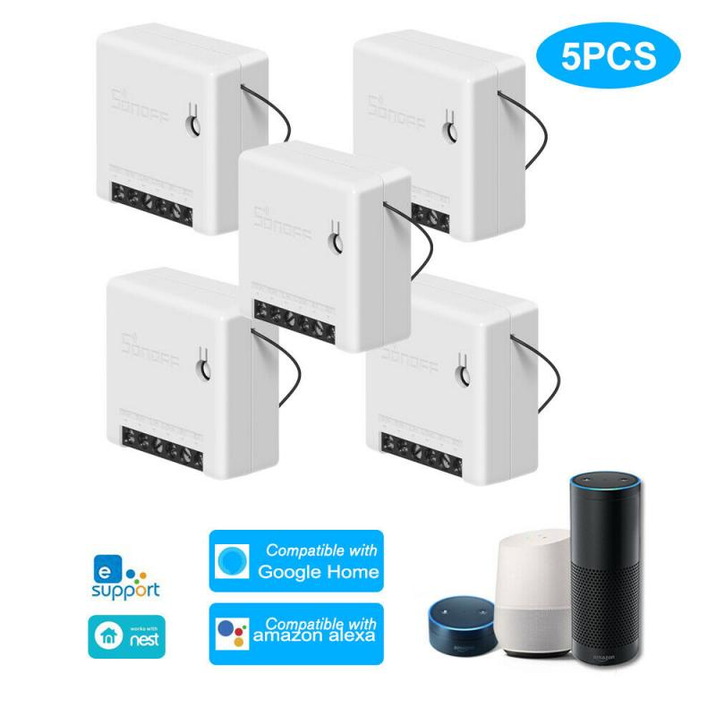 5 Pcs Sonoff Mini DIY Smart Switch Small Ewelink Remote Control Wifi Switch Support An External Work With Alexa Google Home