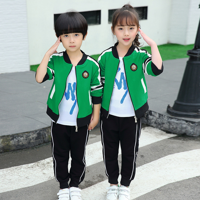 New Style Kindergarten Suit Spring And Autumn Plus Velvet Young STUDENT'S School Uniform Autumn And Winter Two-Piece Set Sports