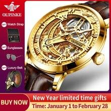 Oupinke Lederen Mechanische Horloge Mannen Top Brand Luxe Skelet Automatische Horloges Voor Mannen Gold Sport Horloge Relogio Masculino