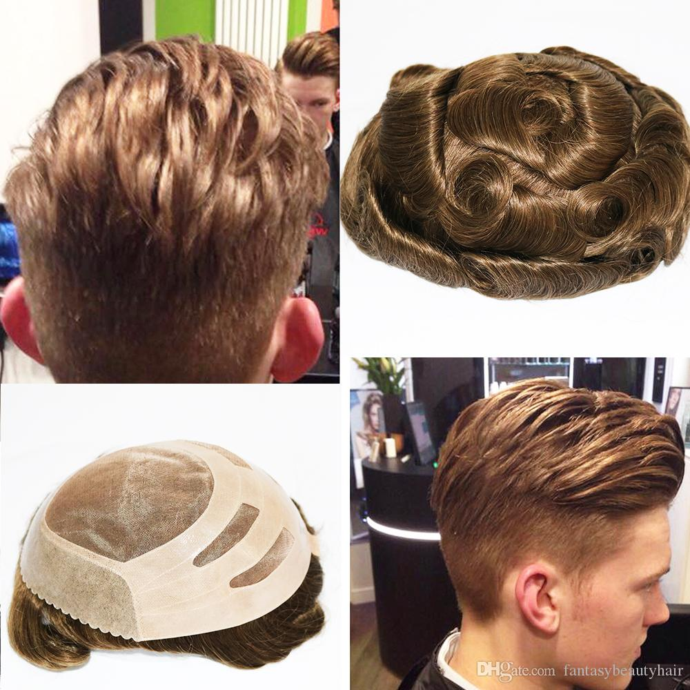 Stock Human Hair Wigs For Men Men's Toupee Top Hair Piece With NPU Most Durable Toupee Peruvian Remy Hair Mens Wig
