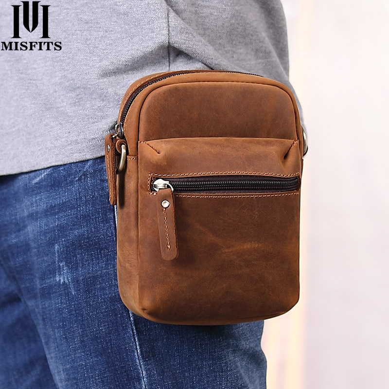 MISFITS Genuine Crazy Horse Leather Waist Packs Men's Casual Fanny Pack Travel Messenger Bag Shoulder Bag Small For Phone Pouch