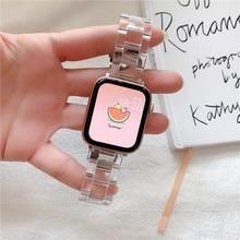 Correa de resina para apple Watch, 38mm, 42mm, correa de acero transparente para apple watch 5 44mm 40mm iwatch series 5 4 3