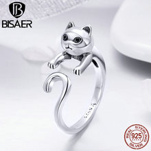 BISAER Silver Rings for Women 925 Sterling Silver Naughty Cat Open Finger Ring Fashion Jewelry Cocktail Cat Lover Gift HSR409 bisaer silver rings 925 sterling silver pet french bulldog open finger ring for women silver ring fashion jewelry hsr411