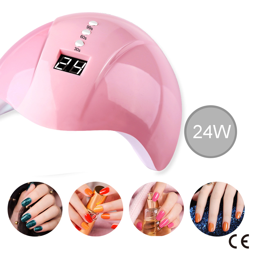 CE Certification Nail Dryer LED UV Lamp 24W For All Gels 12 Leds UV Lamp For Nail Machine Curing 30s/60s/99s Timer USB Connector