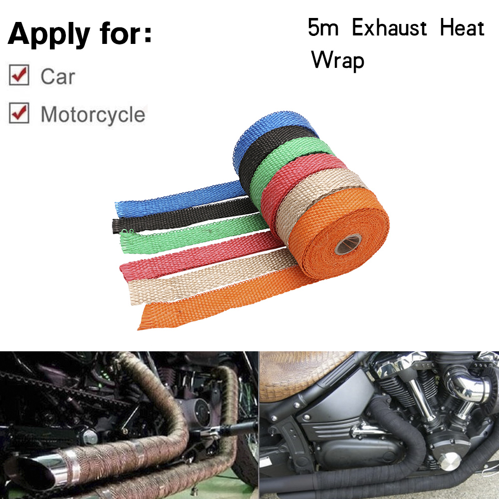 Free Shipping Universal MOTORCYCLE Incombustible Turbo MANIFOLD HEAT EXHAUST THERMAL WRAP TAPE STAINLESS TIES 1.5mm*25mm*5m(China)