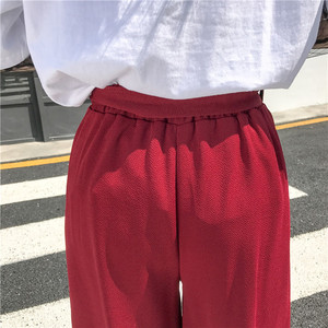 Image 5 - 2020 Women Casual Loose Wide Leg Pant Womens Elegant Fashion Preppy Style Trousers Female Pure Color Females New Palazzo Pants