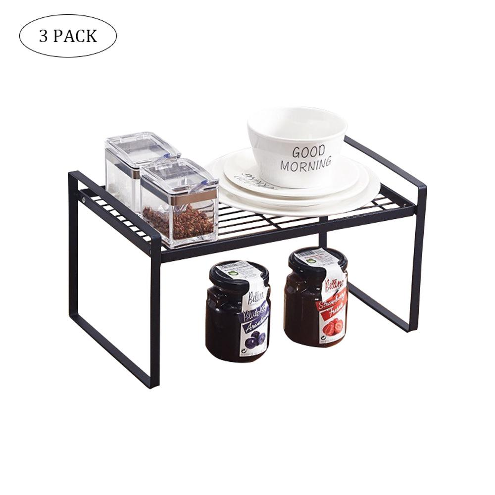 Permalink to 4pcs/lot Iron Counter Shelf Rack Organizer Houseware Expandable Stackable Kitchen Cabinet Storage Shelf Holder