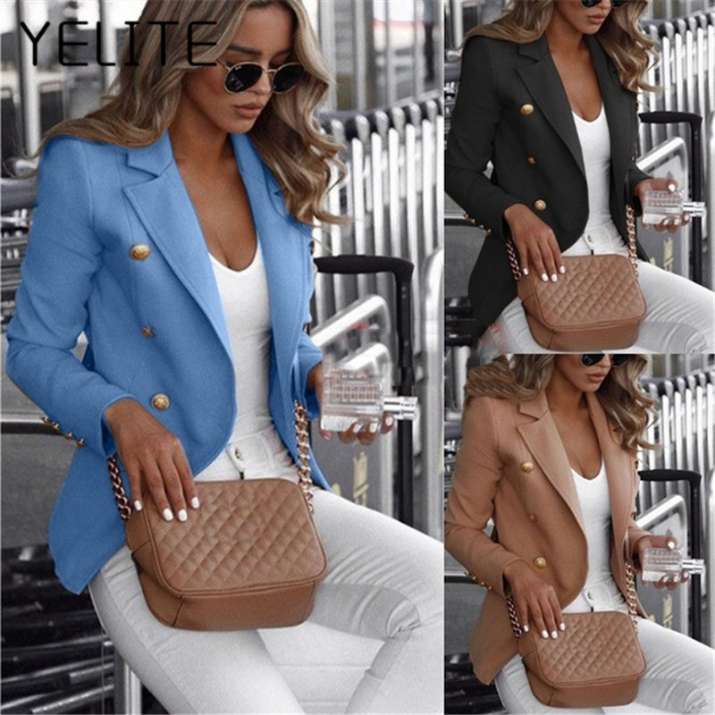 YELITE 2020 Womens Collar Blazer Suit Thin Jacket Ladies Formal Coat Cardigan puls size Office lady's fashion coat