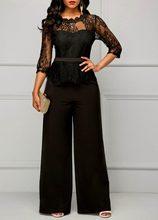 Комбинезон женский кружевной с длинным рукавом, элегантный пикантный свободный Ромпер в стиле пэчворк, с широкими штанинами, праздничный ч...