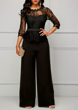 Elegant Sexy Jumpsuits Women Long Sleeve Lace Patchwork Jumpsuit Loose Trousers Wide Leg Pants Rompers Holiday Black Overalls xuru women cold shoulder wide leg pants jumpsuits female overalls sexy party jumpsuit women s loose plus size jumpsuits