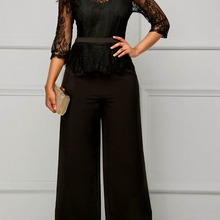 Elegant Sexy Jumpsuits Women Long Sleeve Lace Patchwork Jump
