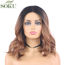 Ombre Brown Grey Synthetic Lace Wigs Middle part Heat Resist