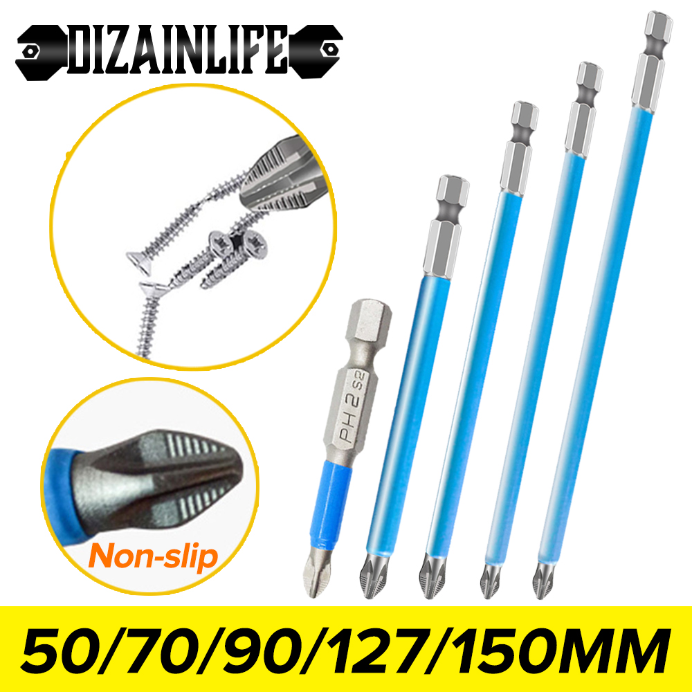 50/70/90/127/150mm Non-Slip Cross Bit Drill Magnetic PH2 Electric Screwdriver Bits Batch Head Wind Impact Driver Bit for Screw