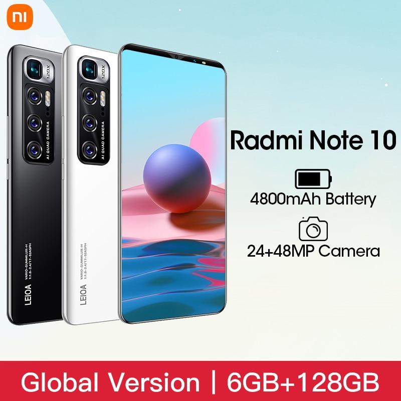 Сотовый телефон Xiomi Radmi Примечание 10 для приставки Android Smart Phone 6 ГБ Оперативная память 128 Гб Встроенная память телефона 4800 мА/ч, Батарея 6,1 дюйм...