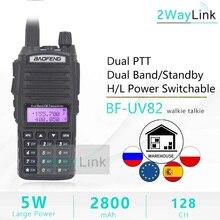 BaoFeng Walkie Talkie UV 82 portátil de banda Dual, 5W, 128Ch, VHF, UHF, 136 174MHZ, 400 520MHZ, UV82 Ham Radio Baofeng 82