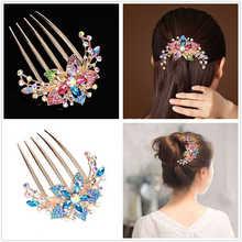Hairpin accessories elegant accessories inlaid with Rhinestone Flower comb hairpin elegant women luxury rhinestone flower round hairpin for women
