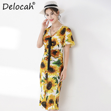 Delocah Runway Fashion Summer Silk Midi Dress Womens Sexy V-Neck Sunflower Print Ruffled Elegant Casual Trumpet Mermaid Dresses