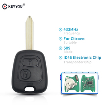 KEYYOU llave de control remoto de coche, 2 botones, 433Mhz, cuchilla para Citroen Saxo Xsara Picasso Berlingo SX9