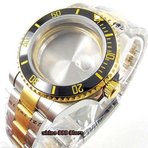 Revestido de Qualidade Ouro Superior Relógio Pulso Vidro Safira Cerâmica Moldura Ajuste Eta 2836 Miyota Movimento 40mm Men