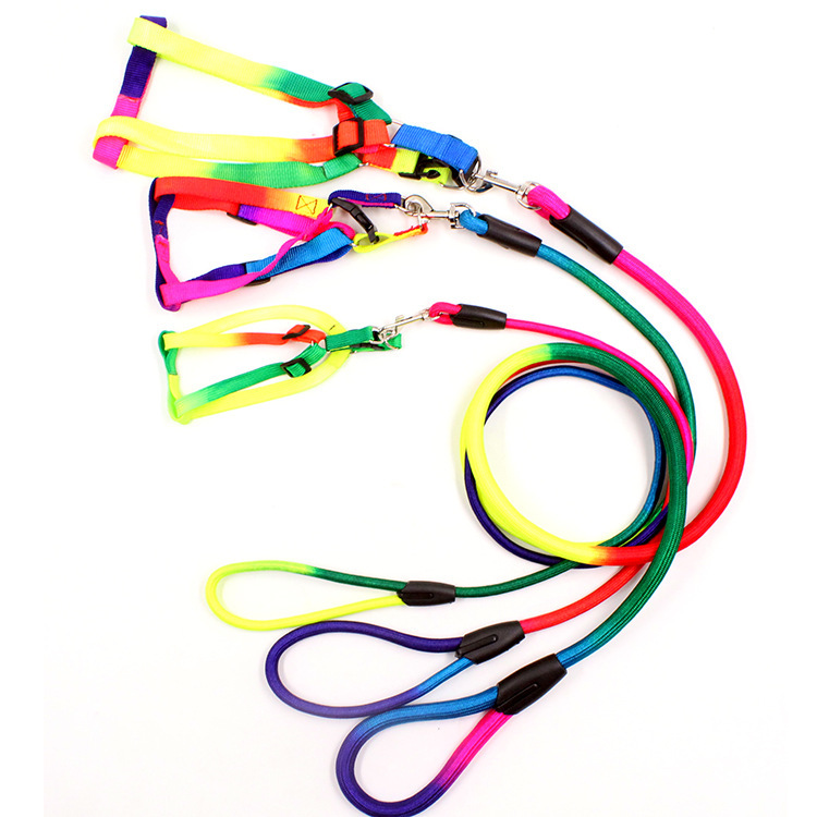Pet Supplies Dog Colorful Chest And Back Hand Holding Rope Circle Dog Chain