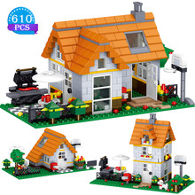 Criador design cidade série estática blocos de construção wilderness lazer casa modelo tijolo crianças presentes do feriado brinquedos