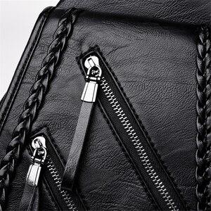 Image 4 - Weave Backpack Female Genuine Leather Backpack Women Large Capacity Travel Bag Zipper Shoulder Bags for Women 2020 Sac