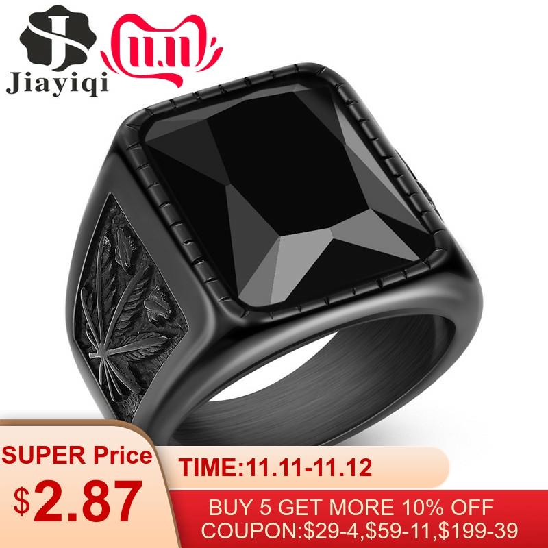 Jiayiqi Men Hiphop Ring 316L Stainless Steel Black/Red Stone Rock Fashion Male Jewelry
