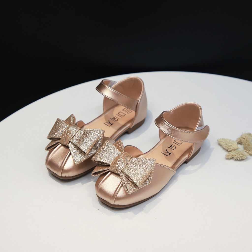 Schuhe Kinder Prinzessin Schuhe Mädchen Marke Designer Mädchen Sandalen Kinder Süße Bowknot Sommer Schuhe Wohnungen Schwarz Sliver Kleid Schuhe
