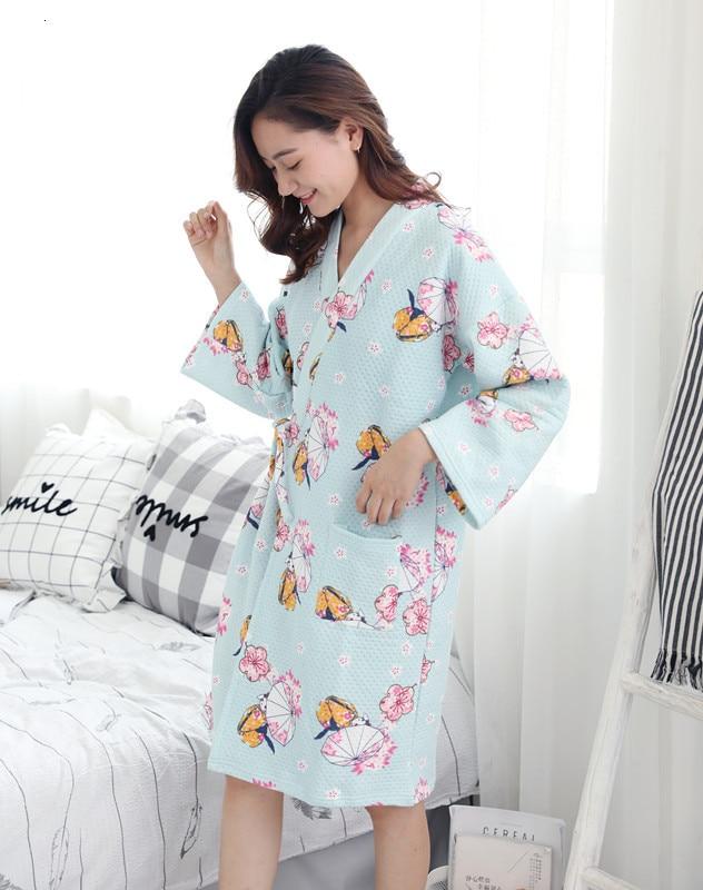 Japanese Kimono Pajamas Women's Autumn Winter Cotton Long-sleeved Air Layer Thick Quilted Cute Homewear Bathrobe Steamed Yukata