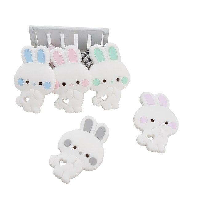 Chenkai 10 pièces sans BPA Silicone lapin anneau de dentition Animal mignon Catrtoon lapin dents pour bricolage soins infirmiers sucette attache sucette chaîne