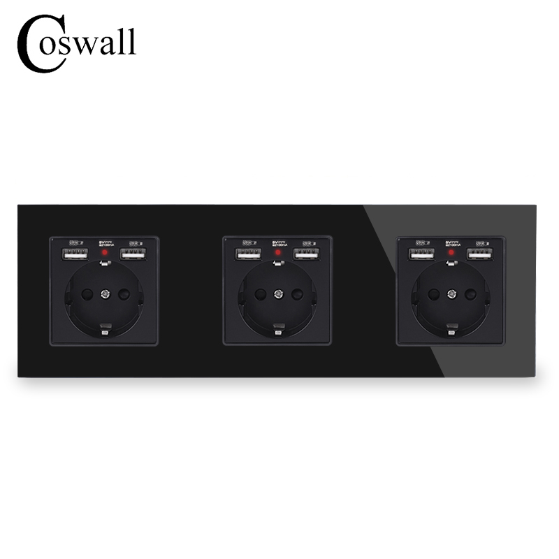COSWALL 3/4 Gang Russia Spain EU Standard Wall Socket + Dual USB Charge Port Hidden Soft LED Indicator Knight Black Glass Panel