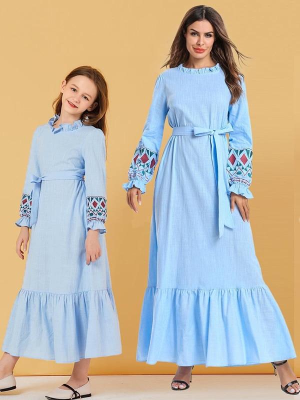 New Spring/fall 2019 Baby Dress Baby Dress Girl Light Blue Pastel Pastel Bubble Sleeve Dress Muslim Casual Dress