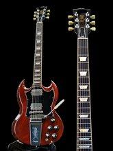 Bigsby tremolo marrom escuro vermelho sg reedição humbucker captador preto grande pickguard personalizado guitarra rosewood fretboard uma peça pescoço