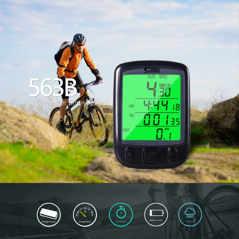 New Style Sunding 2018 SD 563B Waterproof LCD Display Cycling Bike Bicycle Computer Odometer Speedometer With Green Backlight