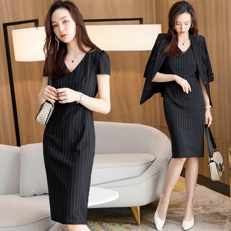 Женское платье высокого качества, весна/лето 2021, новый стиль, модный элегантный приталенный костюм в западном стиле, комплект из двух предме...