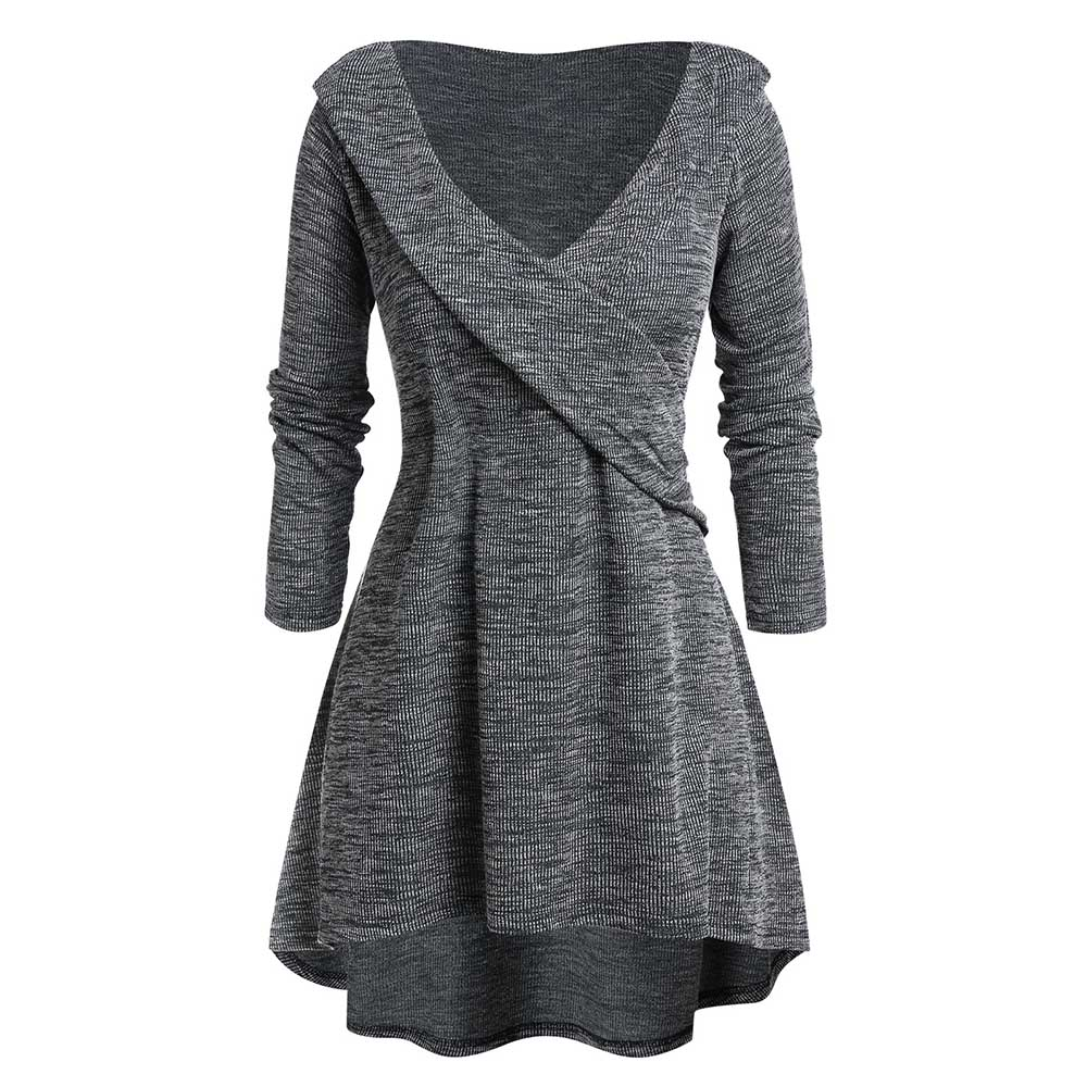 ROSEGAL Plus Size Tunic High Low Plunging Neck Sweater Sexy High Waist Pullovers A-Line Sweaters Pull Femme Winter Clothes Women