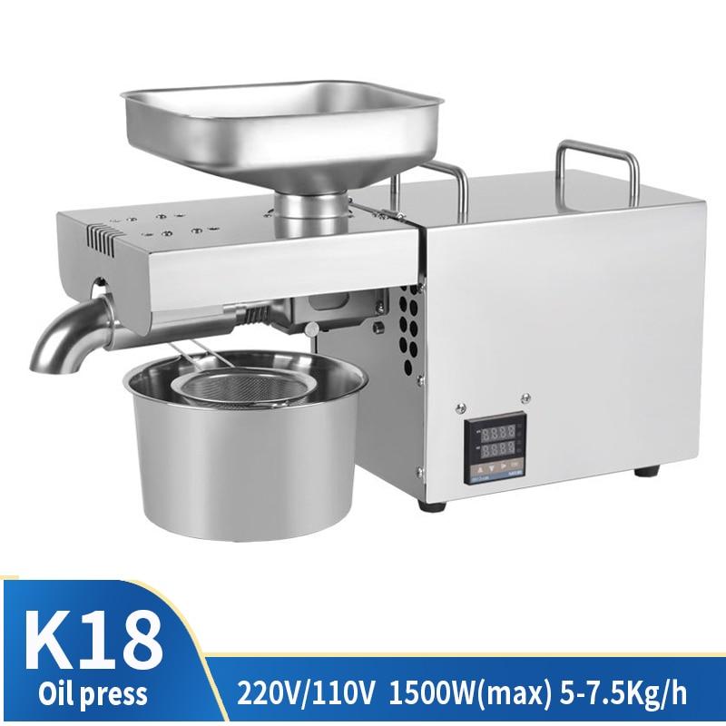220V 1500W (Max) temperatuur Gecontroleerde Rvs Oliepers Familie Kleine Elektrische Koudgeperste Automatische Pinda Kokosnoot