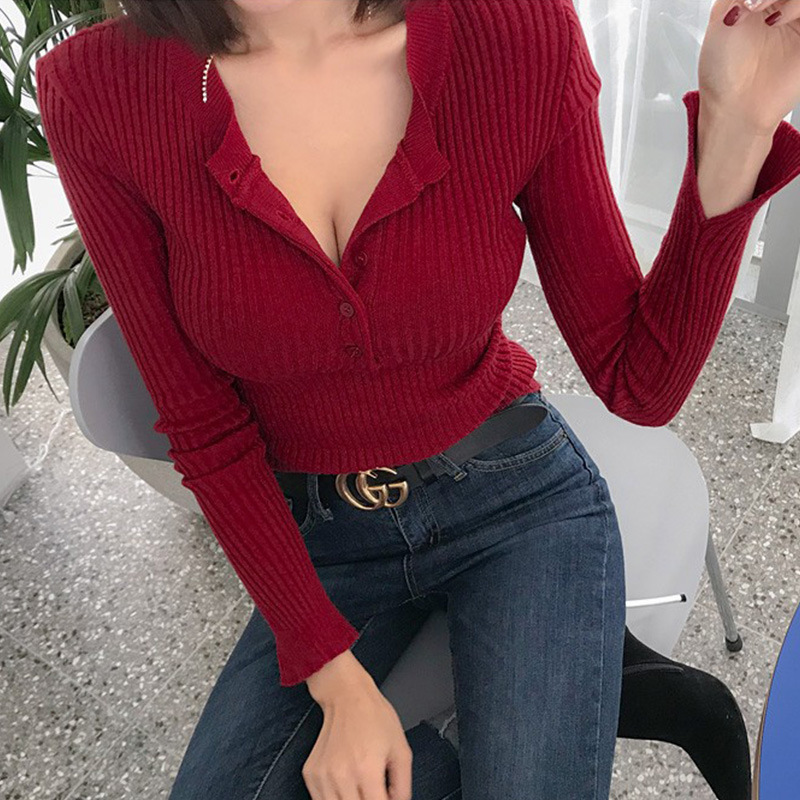 High Quality Sexy Red Sweater For Women Single Breasted Pullovers Slim Korean Lady's Sweater Spring Women Jumper Sexy Pull Femme