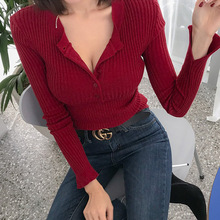 High Quality Sexy Red Sweater for Women Single Breasted Pullovers Slim Korean Ladys Spring Jumper Pull Femme