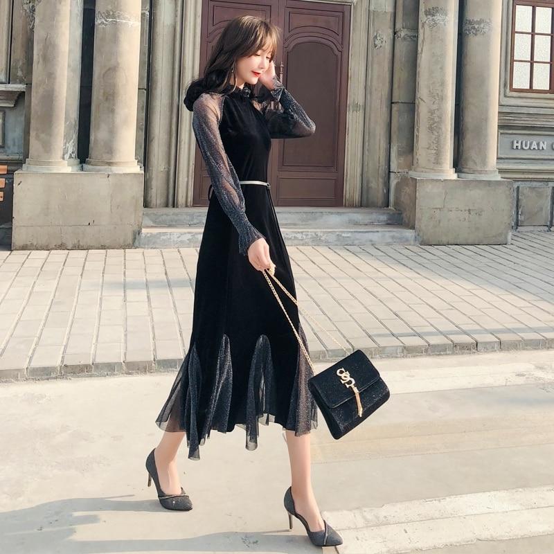 2019 les nouvelles femmes noir bohème robe à manches longues Vintage élégant Sexy Club fête coréenne décontracté dames mode Maxi vêtements - 3