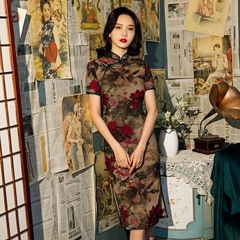 FZSLCYIYI-vestido chino de lino y seda con estampado de satén para mujer, Qipao tradicional de boda, vestido con abertura femenino, ceñido vestido Floral, Cheongsam