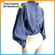 Рубашка с воротником стойкой и длинным рукавом фонариком Осень