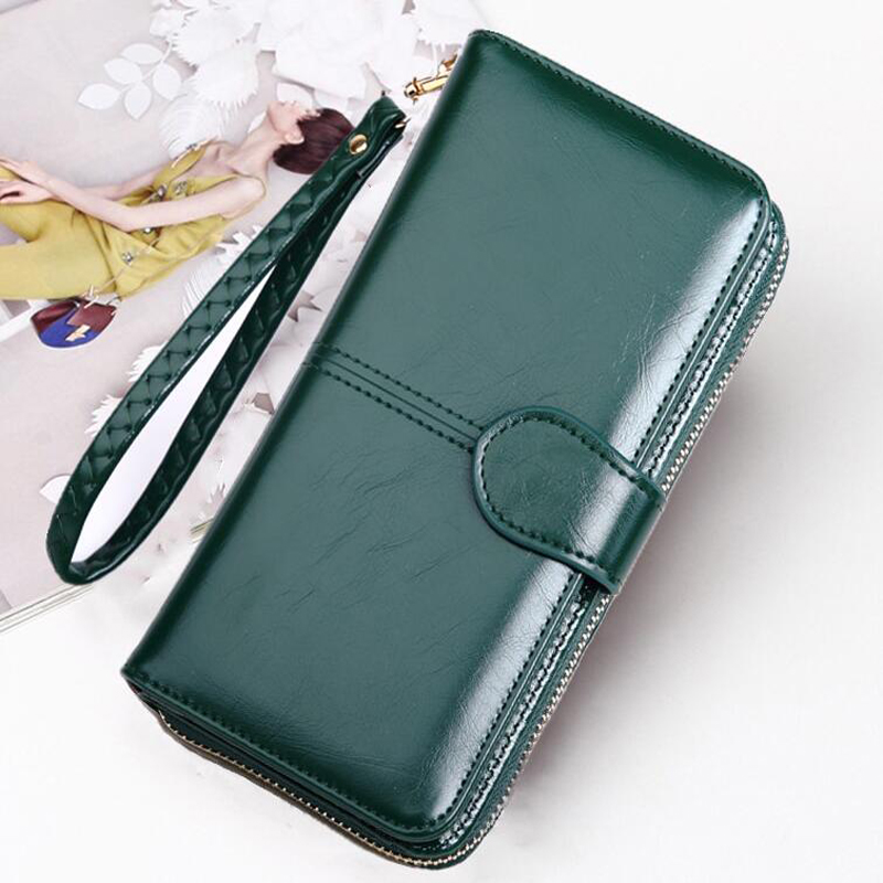 LKEEP Leather Original Women Wallet Long Wallet Purse Female Green Wallet Portomonee For Gift Women Wallet 2020