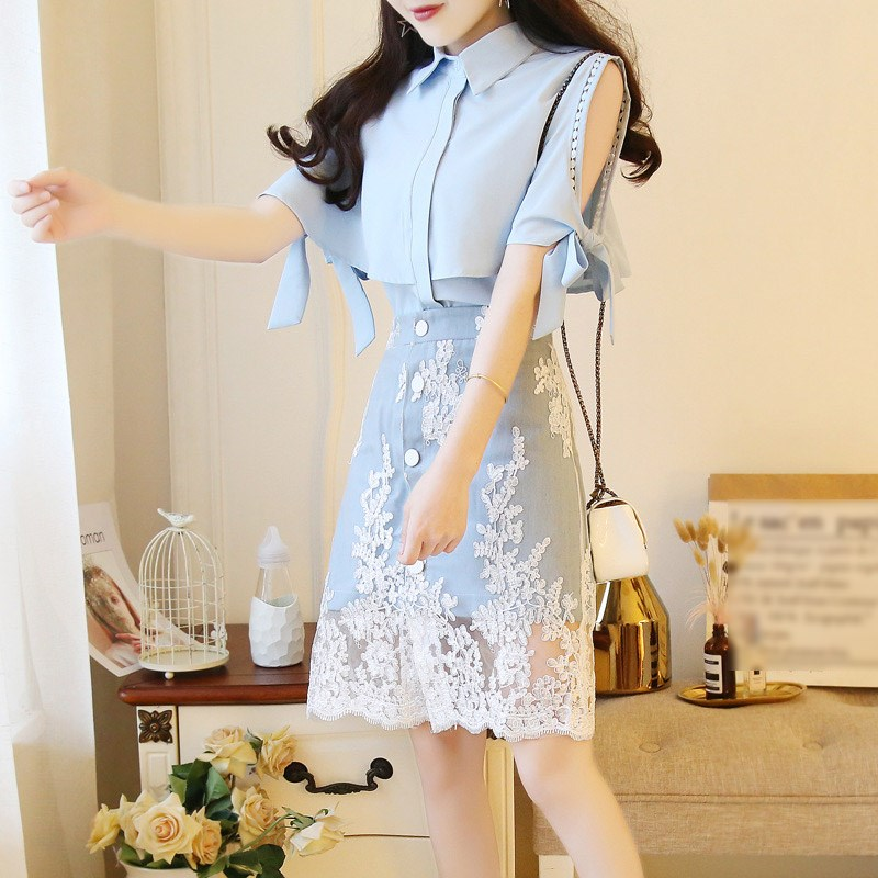 2019 New Summer Women Skirts Set Sweet Ruffles Lace Up Bows Blouses Shirts And Denim Lace Embroidery Skirt Sets Clothing
