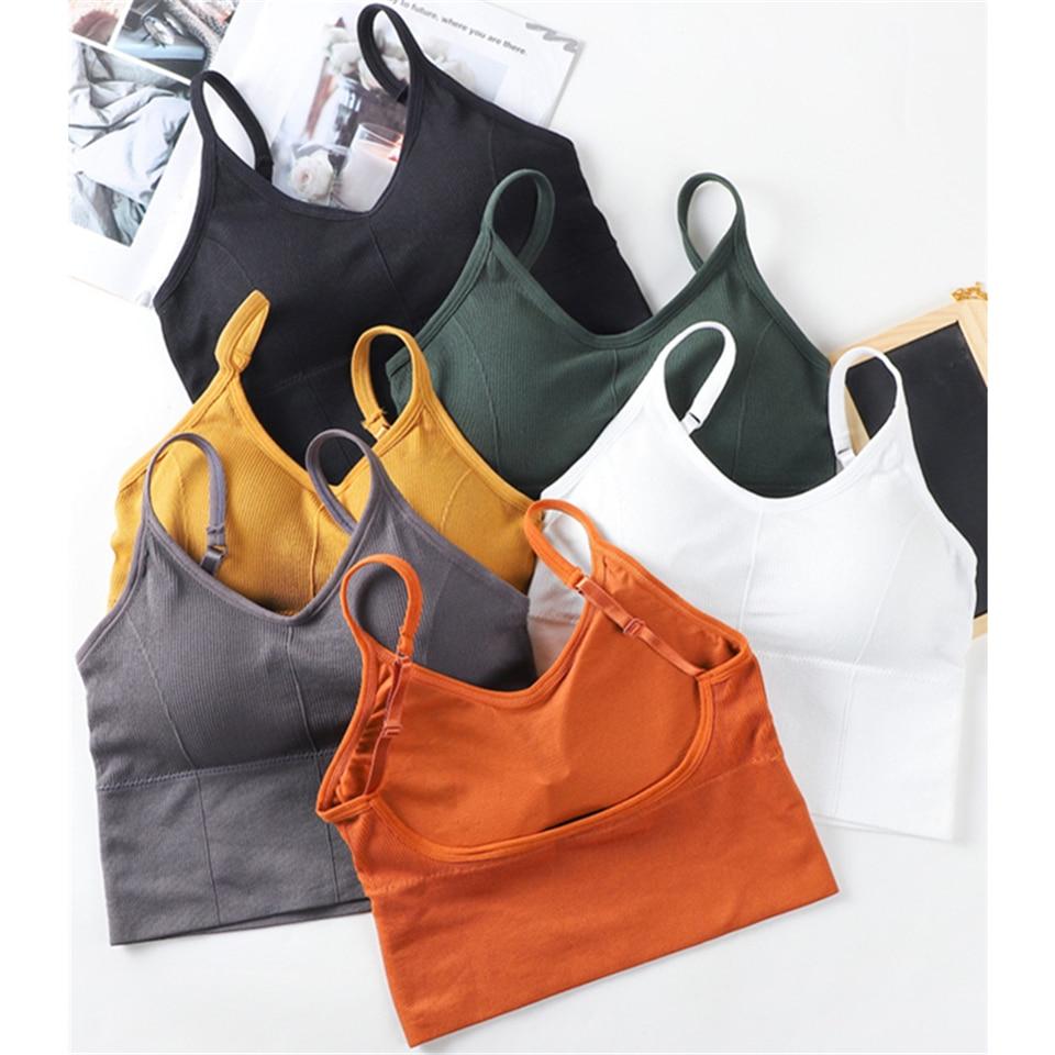 Pamuk spor Bras kadınlar Push Up katı spor sutyeni koşu Gym kadın spor sutyeni kız iç çamaşırı spor koşu Yoga spor üstleri