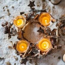 Stand Decoration Candle Holder Mold Wood Vintage Glass Cylinder Candlestick Wooden Home Decoration