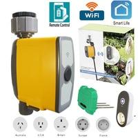 Conexão wi-fi automático inteligente sistema de irrigação rega temporizador sensor umidade do solo controlador irrigação jardim