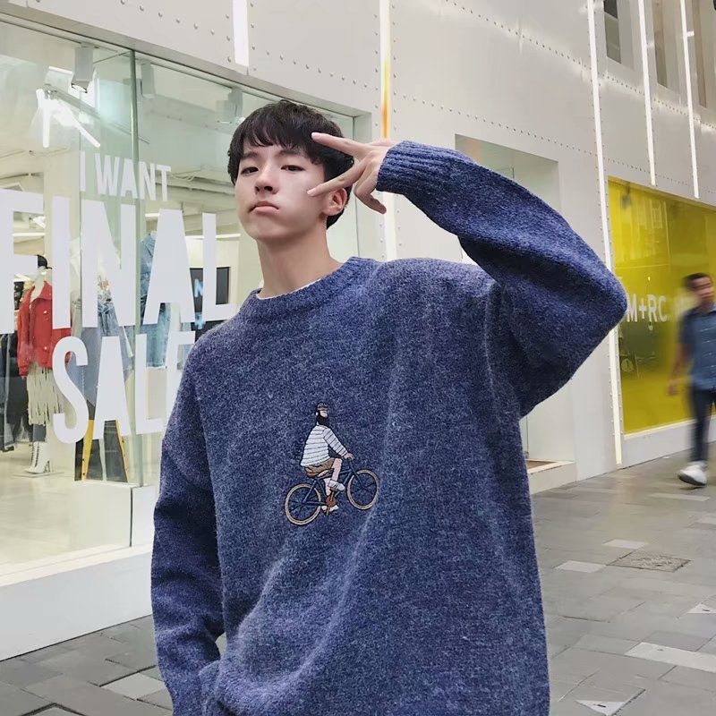 Lazy Wind Pullover Male Round Collar Autumn And Winter Korean Version Of The Trend Men's Sweater Handsome Loose Old Wind Sweate